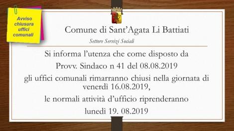 chiusura uffici comunali 16.08.2019